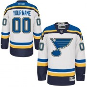 Reebok St. Louis Blues Youth Customized Authentic White Away Jersey